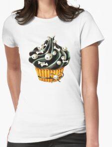 Black Halloween Cupcake Womens Fitted T-Shirt