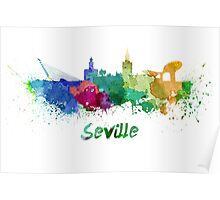 Seville skyline in watercolor Poster