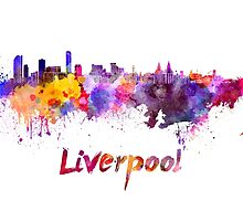 Liverpool skyline in watercolor by paulrommer