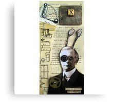 Inventor assemblage mixed media collage shadow box original art Canvas Print