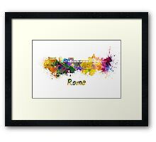 Rome skyline in watercolor Framed Print