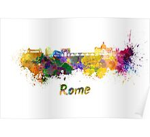 Rome skyline in watercolor Poster