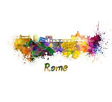 Rome skyline in watercolor Photographic Print