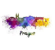 Prague skyline in watercolor Photographic Print