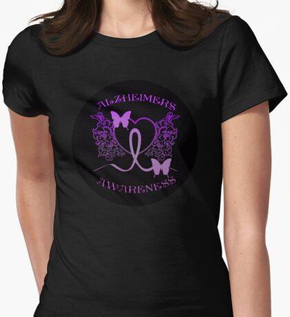 Alzheimers Awareness Purple Butterflies Womens Fitted T-Shirt