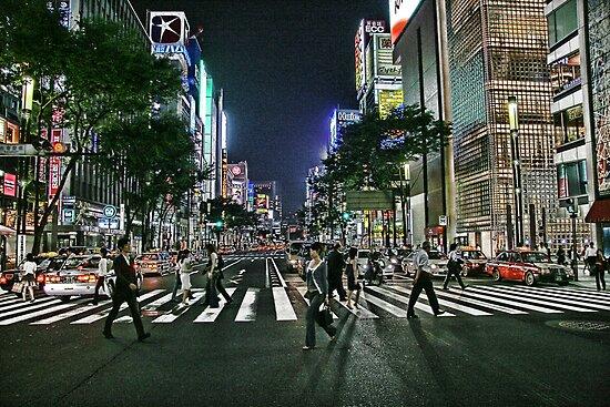Tokyo - Ginza Crossing by sparrowhawk