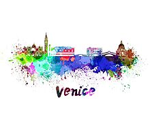Venice skyline in watercolor Photographic Print