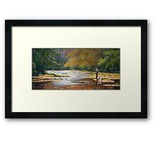 Fisherman and his dog Framed Print