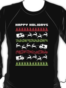 Funny 'Santa Reindeer Pulling Ambulance' Happy Holiday EMT/Paramedic T-Shirt and Accessories T-Shirt