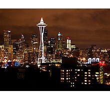 THE BEAUTIFUL SEATTLE SKYLIGHT AT NIGHT Photographic Print