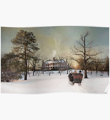 Sleigh Ride at Sunset Poster