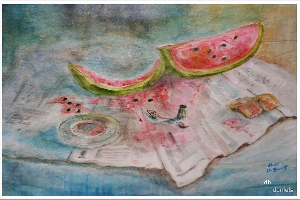 watermelon on newspaper by daniels