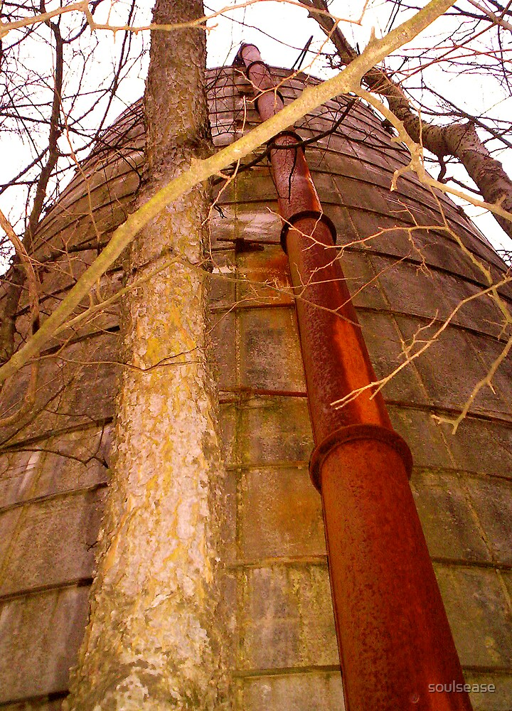 silo rusted red pipe by soulsease