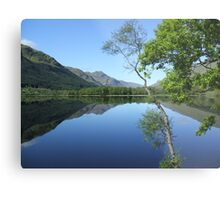 mirror calm scottish loch   Metal Print