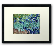 Famous art, Iris,  by Vincent van Gogh. Vintage impressionism floral oil painting. Framed Print