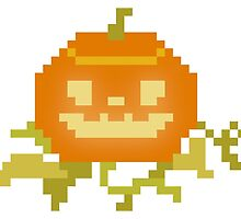 Halloween Pixel Art Pumpkin by mybabybat