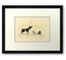 A Doe & Her Kids Framed Print
