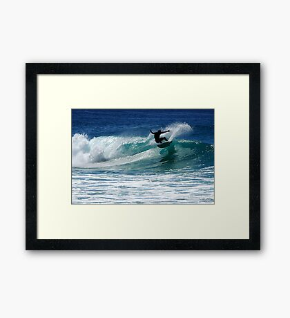 Surfing at Dalmeny Framed Print