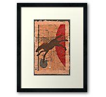 BROWN HORSE FLYING RED BALL Framed Print
