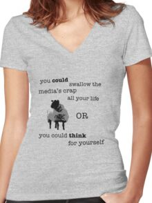 Think for yourself Women's Fitted V-Neck T-Shirt