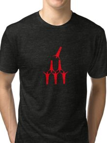 Joe was great at charades. This one 2 words 'pyramid scheme.' Tri-blend T-Shirt