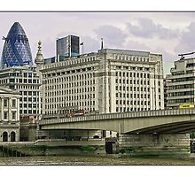 View of London Bridge and the Gherkin by Tim Constable by Tim Constable