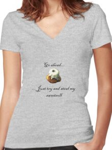 Try and steal my sweetroll! Women's Fitted V-Neck T-Shirt