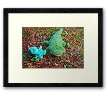 Gator McBumpypants and Herman the baby Pterodactyl Framed Print