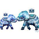 Blue Lotus Tie Dye Elephants by © Karin Taylor