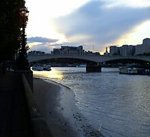 Sunset over Waterloo Bridge and the River Thames, London by Joanna Jeffrees