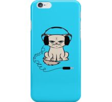 Grumpy Looking Cat With Headphones iPhone Case/Skin