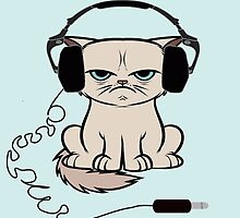 Grumpy Looking Cat With Headphones by mutinyaudio