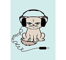 Grumpy Looking Cat With Headphones Photographic Print