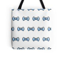 Pixel Ribbon Bow Pattern (blue) Tote Bag