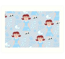 Cute 50's Girl Pattern Art Print