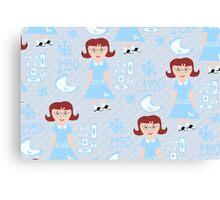 Cute 50's Girl Pattern Canvas Print