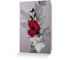 black and red flower Greeting Card