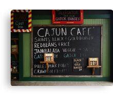 Cajun Cafe Menu 2 Canvas Print