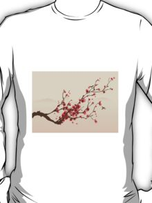 Whimsical Red Cherry Blossom Tree T-Shirt