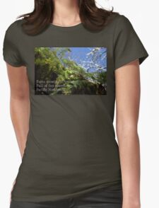 snowy Oregon ferns in trees with haiku Womens Fitted T-Shirt