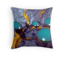 Chrome balls in a slate landscape with gold streaks Throw Pillow