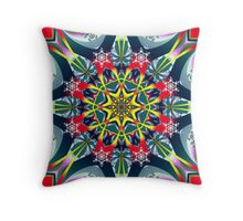 Festive decorative Star with Snowflakes Throw Pillow