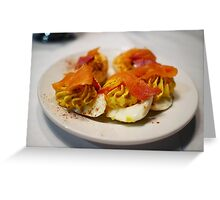 Spicy Deviled Eggs with Smoked Salmon at EAT New Orleans Greeting Card