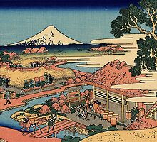 'The Tea Plantation' by Katsushika Hokusai (Reproduction) by Roz Abellera Art Gallery