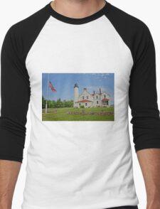 Point Iroquois Lighthouse, Upper Pennusula, Michigan Men's Baseball ¾ T-Shirt