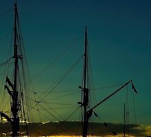 Sails in sunset by Robert Brown