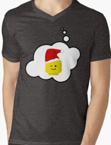 Santa Minifig Head by Bubble-Tees.com Mens V-Neck T-Shirt