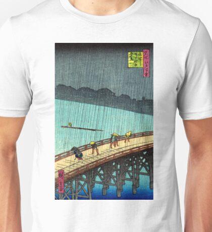 Pedestrians crossing a bridge during a rain storm - Hiroshige Ando - 1857 Unisex T-Shirt