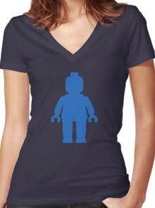 Minifig [Blue] Women's Fitted V-Neck T-Shirt