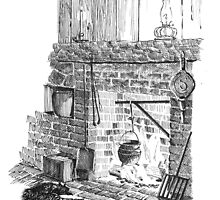 Cat by the Fire Hearth by watermark